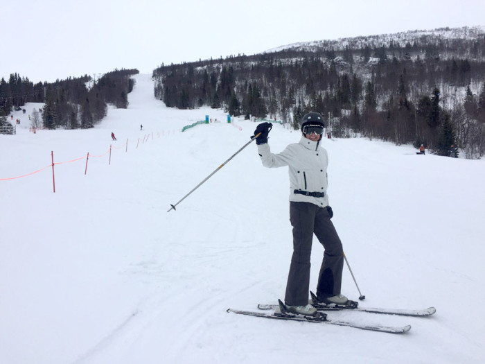 Nina Campioni wears Stella McCartney for Adidas while skiing in Åre, Sweden